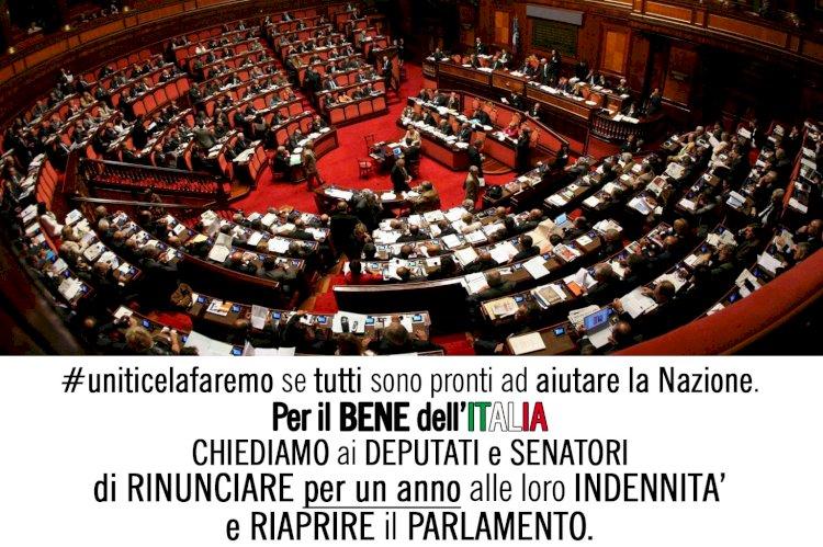Per il bene dell'Italia chiediamo a Deputati e Senatori di rinunciare alle loro indennità