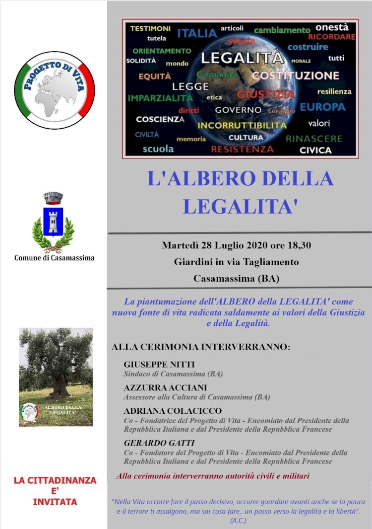 L'Albero della Legalità arriva a Casamassima (Ba)