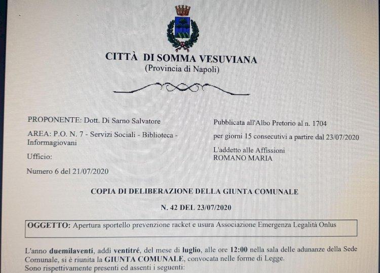 Somma Vesuviana: il sindaco Di Sarno e la sua giunta pongono rimedio all'appello del testimone Ciliberto