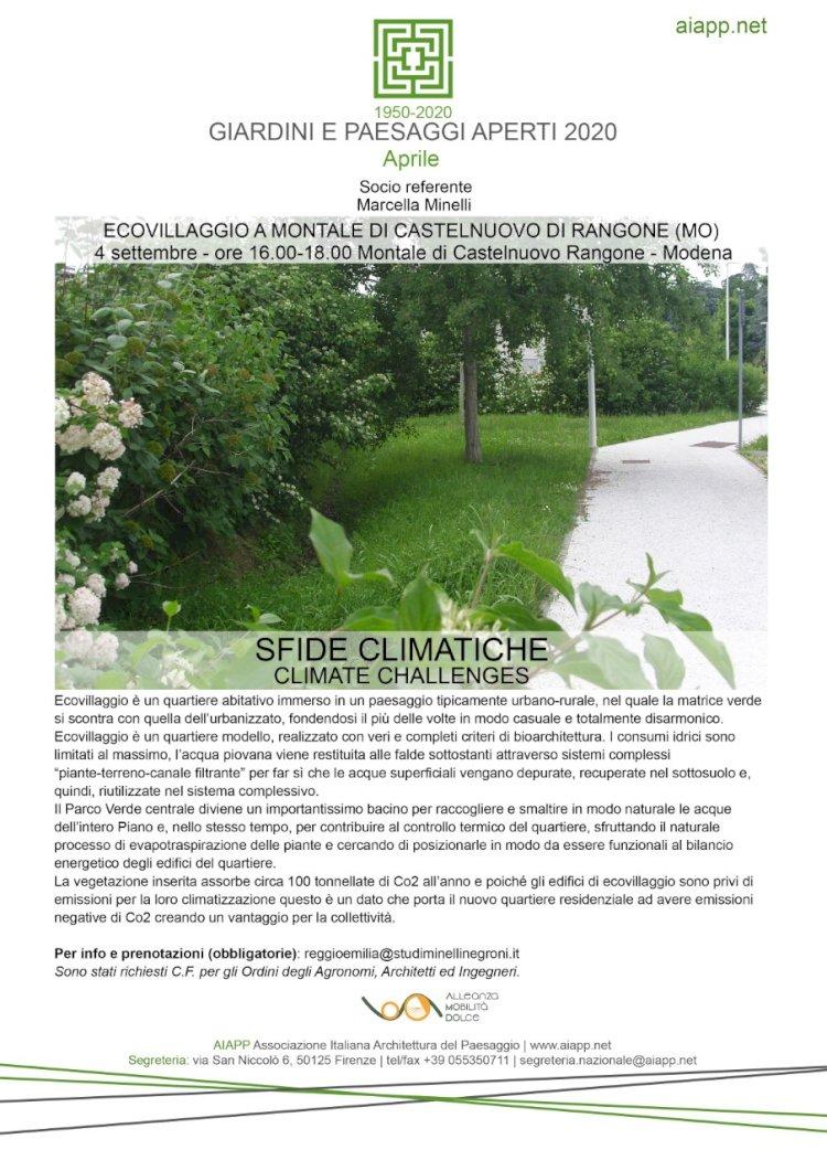 AIAPP: incontro sulle sfide climatiche all'Ecovillaggio Montale di Modena