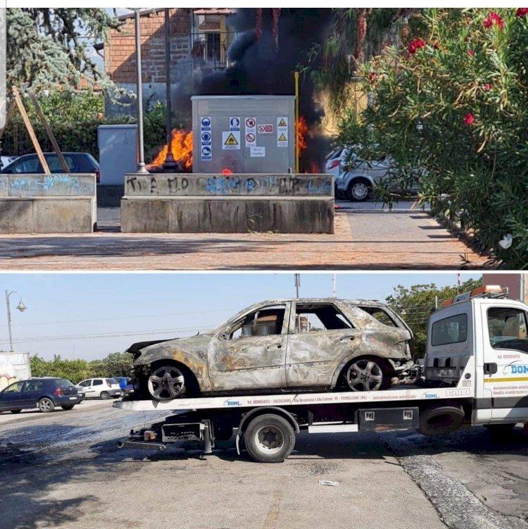 Somma Vesuviana: evitata la tragedia. Auto in fiamme vicino alla cabina del metano
