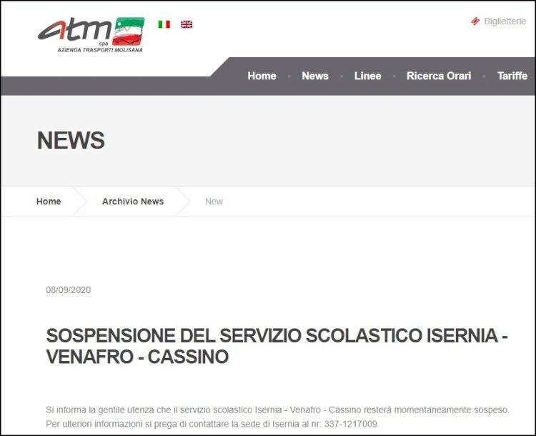 Trasporti: sospeso il servizio scolastico Isernia-Cassino