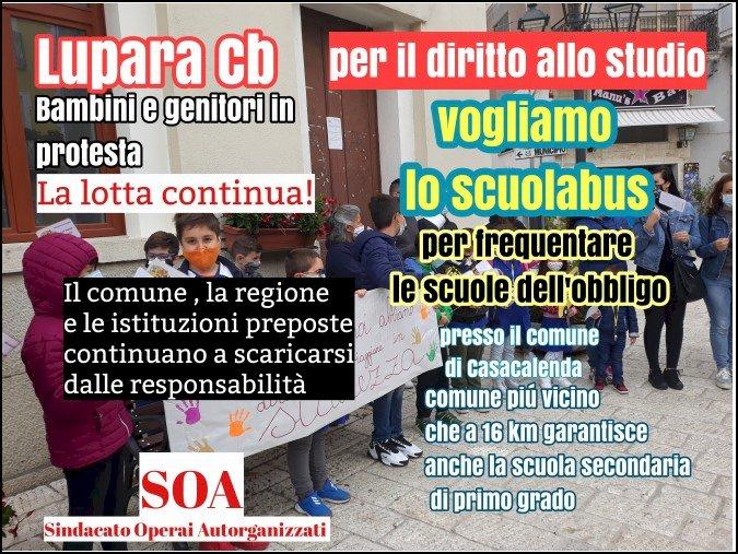 Diritto allo studio a Lupara, non si ferma la protesta