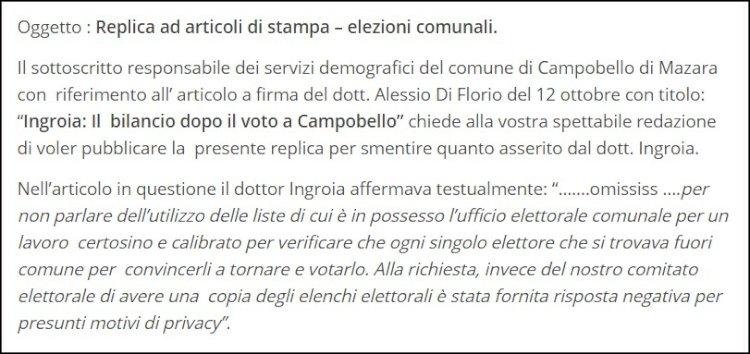 [Amministrative 2020] Campobello. Responsabile Servizi demografici replica alle dichiarazioni rilasciate dal candidato sindaco Ingroia
