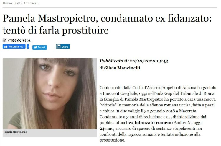 Pamela Mastropietro e la brutale disumanità della schiavitù sessuale