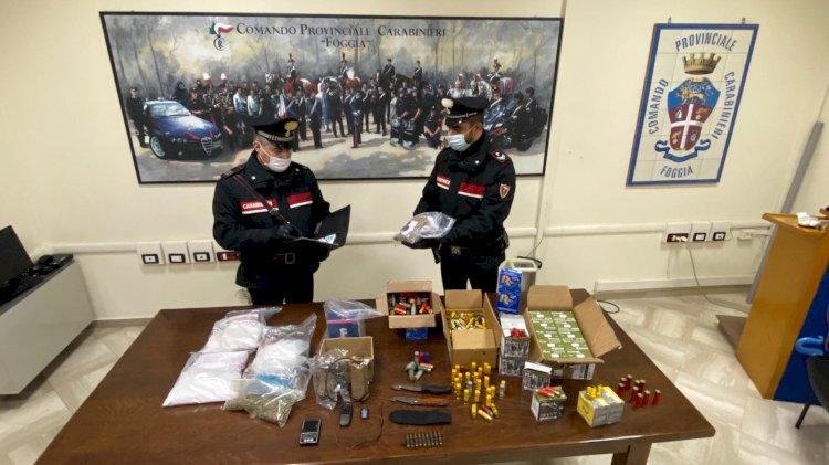 Foggia, arresti per detenzione stupefacenti, materiale esplodente e munizionamento da guerra
