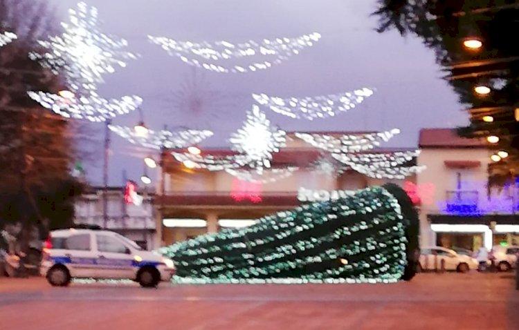 VIDEO. Somma Vesuviana: cade l'albero di Natale. Sfiorata la tragedia