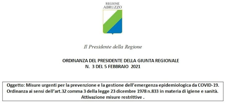 Abruzzo, prima settimana in «zona gialla» e nuovi lockdown comunali