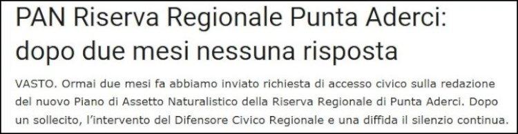 PAN Riserva Punta Aderci, finalmente una risposta da Palazzo di Città