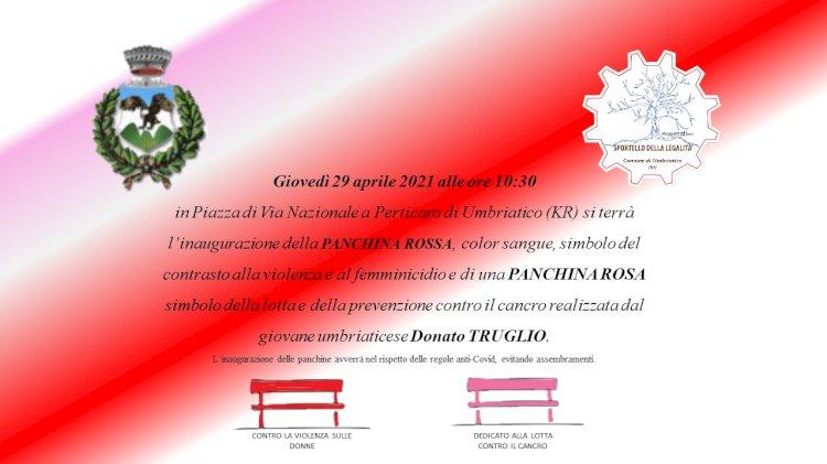 Due panchine in Calabria contro la violenza e il cancro