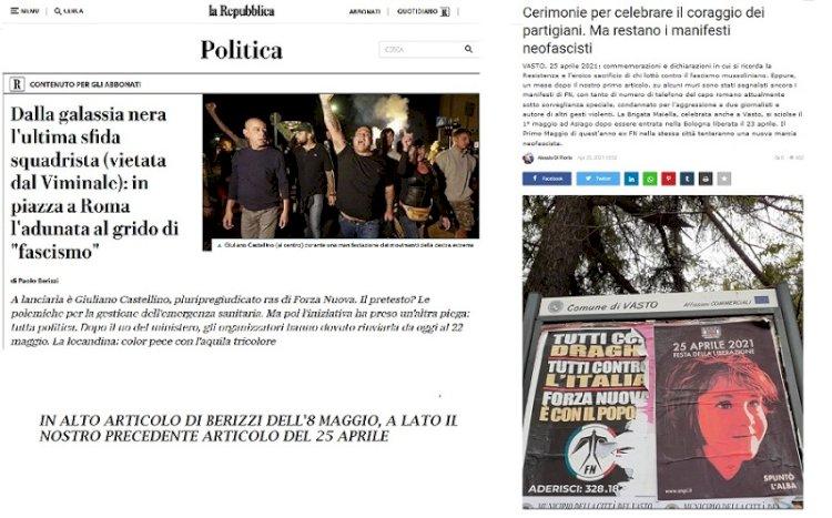Squadristi tentano nuove «Marce» su Roma. Sui manifesti neofascisti a Vasto continua il silenzio