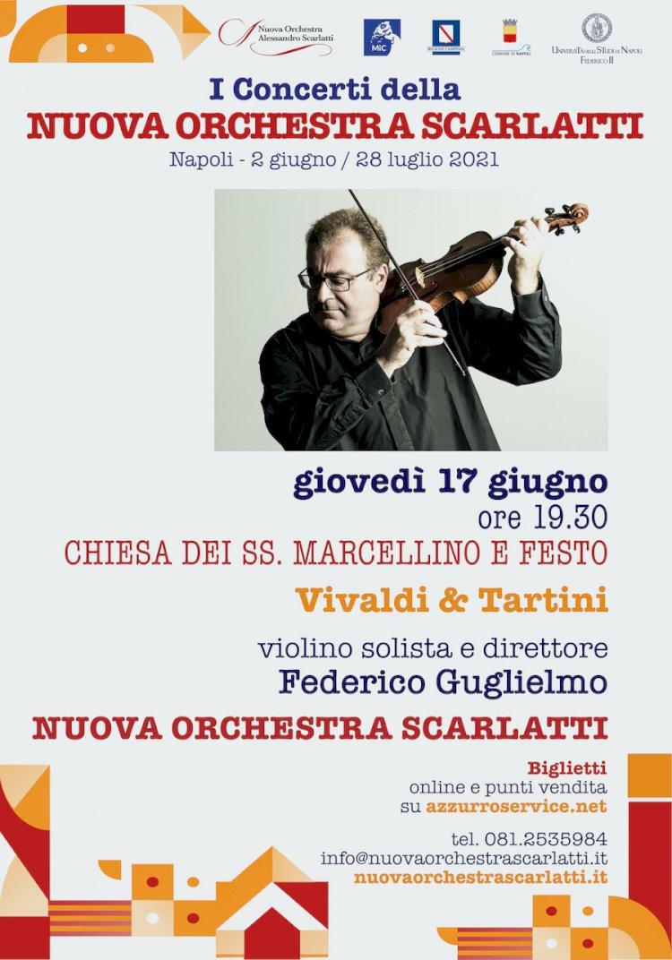 """Il violinista Federico Guglielmo, star della musica barocca in """"Vivaldi & Tartini"""", con la Nuova Orchestra Scarlatti"""