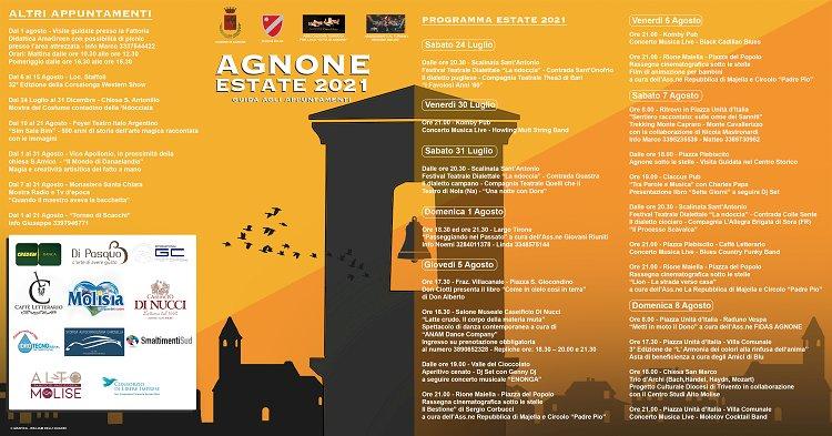 AgnonEstate 2021: pronto il calendario degli eventi e delle attività estive che si terranno nella Città di Agnone