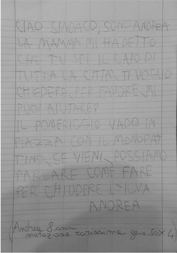Taranto, la lettera del piccolo Andrea
